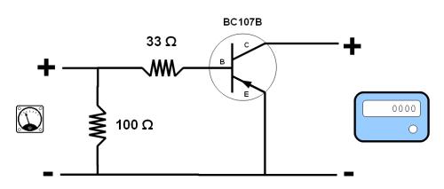 Esquema eléctrico de conexión al podómetro digital