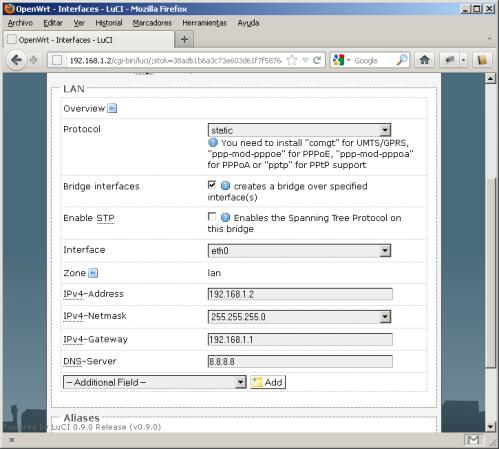 Pnatalla de configuración de los parámetros de red local
